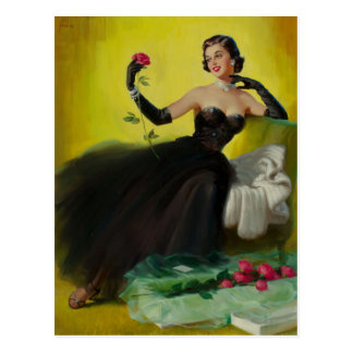 Glamorous Pin-Up with Roses Carte Postale