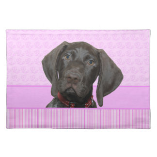 Glanzende Grizzly in Roze Placemat