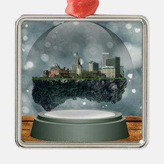 Globe de neige d'île de Providence Ornement Carré Argenté