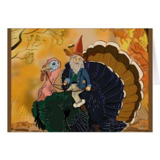 Gnome sur des cartes de thanksgiving de la Turquie
