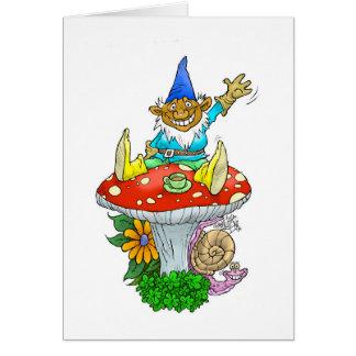 Gnome sur une carte de voeux