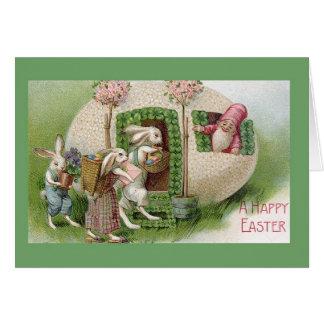Gnome vintage de Pâques et carte de Pâques de