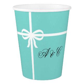 Gobelets En Papier Aqua et tasses de papier de partie d'arc de blanc