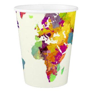 Gobelets En Papier couleurs de carte du monde