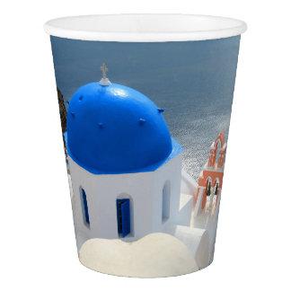 Gobelets En Papier Église de Santorini pendant l'après-midi Sun