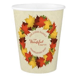 Gobelets En Papier Guirlande de thanksgiving de feuille d'automne