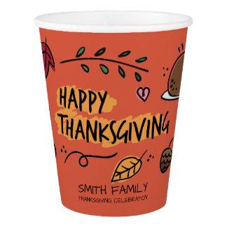 Gobelets En Papier Jour de bon thanksgiving. Célébration de famille