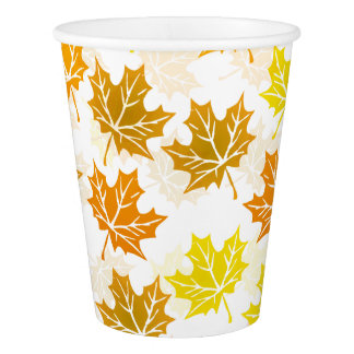 Gobelets En Papier Le feuillage coloré d'automne d'érable d'automne