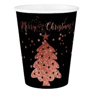 Gobelets En Papier Noir de Joyeux Noël et conceptions chics roses