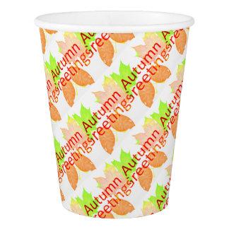 Gobelets En Papier Salutations d'automne