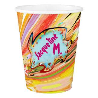 Gobelets En Papier Tasse de papier d'éclat de couleur de Jacqueline