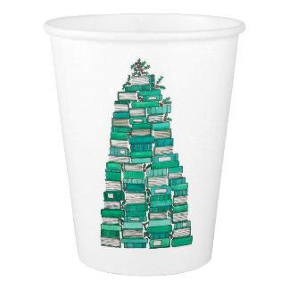 Gobelets En Papier Tasses d'arbre de livre de Noël