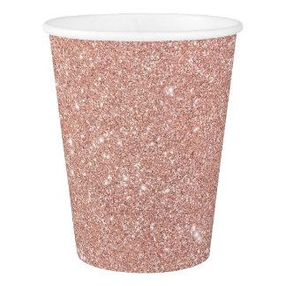 Gobelets En Papier Tasses de papier de Faux d'or de lux rose moderne