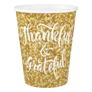 Gobelets En Papier Thanksgiving reconnaissant et reconnaissant de