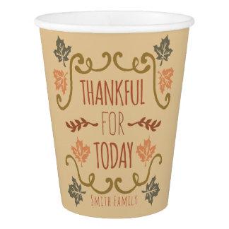 Gobelets En Papier Thanksgiving. Reconnaissant pour aujourd'hui