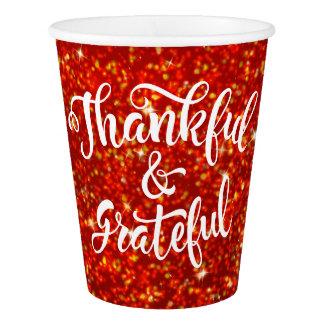 Gobelets En Papier Thanksgiving rouge de parties scintillantes de