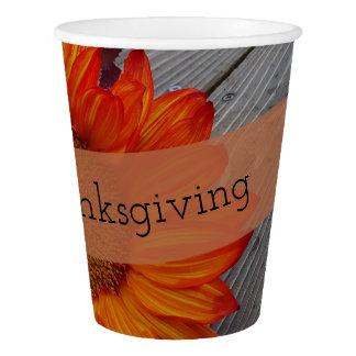 Gobelets En Papier Tournesol personnalisé par bon thanksgiving