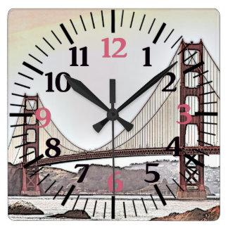 Golden gate bridge - San Francisco, CA (rose) Horloge Carrée