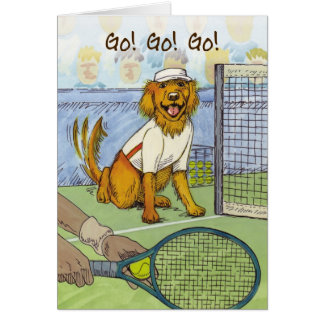 Golden retriever de tennis - carte de bonne chance