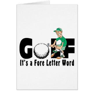 Golf c'est un mot antérieur de lettre carte de vœux