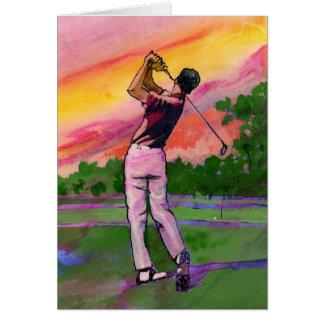 Golfeur au champ carte de vœux