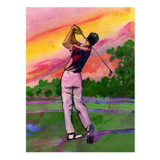 Golfeur au champ carte postale