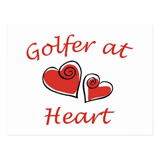 Golfeur au coeur carte postale