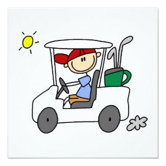Golfeur dans le chariot de golf carton d'invitation  13,33 cm