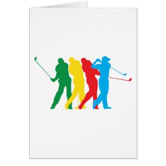 Golfeur dans le mouvement carte de vœux