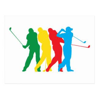 Golfeur dans le mouvement cartes postales