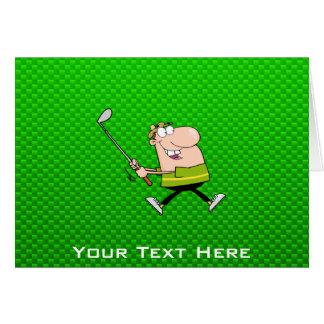 Golfeur de bande dessinée Vert Carte De Vœux