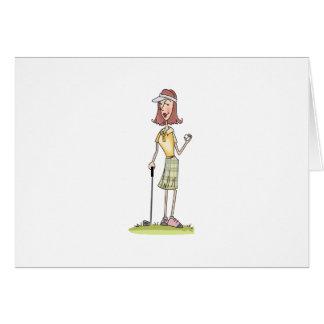 Golfeur de femme carte de vœux