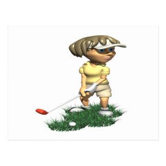 Golfeur de femme carte postale