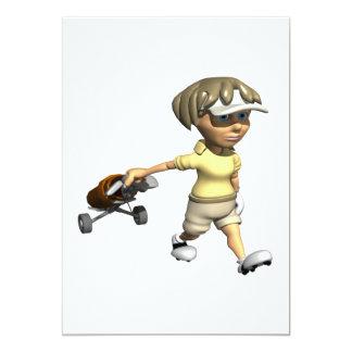 Golfeur de femme carton d'invitation  12,7 cm x 17,78 cm