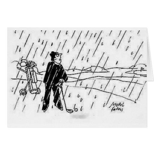 golfeur de pluie cartes de vœux