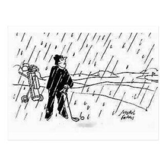 golfeur de pluie carte postale