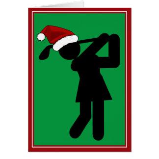 Golfeur féminin de Noël - symbole de golf Carte De Vœux