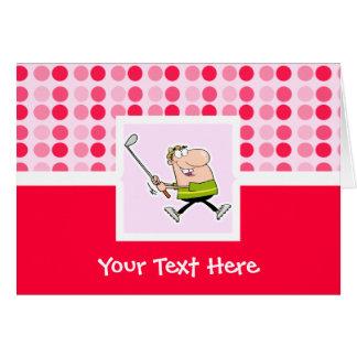 Golfeur mignon de bande dessinée cartes de vœux