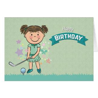 Golfeur mignon de fille environ pour balancer la carte de vœux