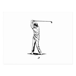Golfeur - rétro dessin carte postale
