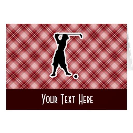Golfeur rouge de cru de plaid carte de vœux