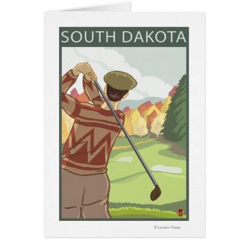 Golfeur SceneSouth Dakota Cartes De Vœux