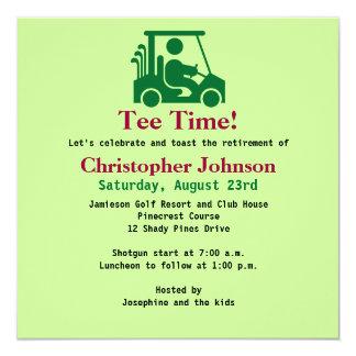 Golfeur vert dans l'invitation de partie de carton d'invitation  13,33 cm