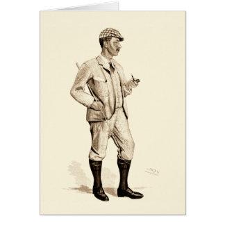 Golfeur vintage avec le tuyau et les bottes de carte de vœux