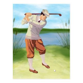 Golfeur vintage par la rive cartes postales