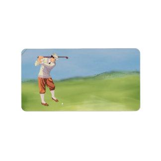 Golfeur vintage par la rive étiquettes d'adresse