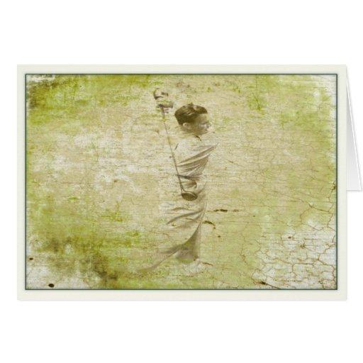 Golfeur vintage peint en plein rendement cartes de vœux