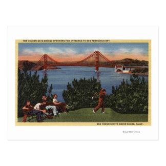 Golfeurs avec golden gate bridge à l'arrière-plan cartes postales