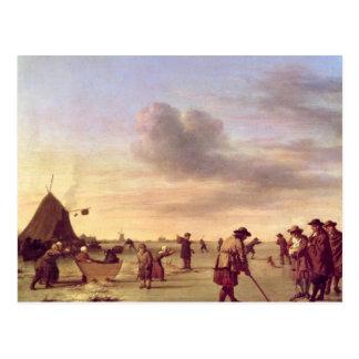 Golfeurs sur la glace près de Haarlem, 1668 Carte Postale