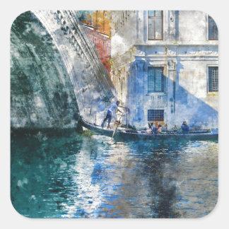 Gondole dans le canal grand de Venise Italie Sticker Carré